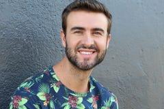 El retrato atractivo de la cara del hombre con un blanco perfecciona sonrisa en un fondo gris Fotos de archivo