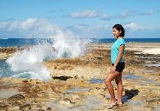 El retrato con agua salpica Imagen de archivo libre de regalías