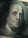 El retrato de Benjamin Franklin se representa en los billetes de banco de $ 100 Imagen de archivo
