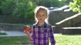 El retrato de comer al niño en contraluz, pequeña muchacha rubia mastica la manzana jugosa madura y la mirada en cámara en aire a almacen de video