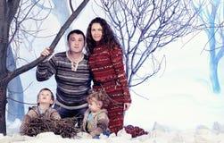 El retrato de la familia se sienta en fondo del bosque de la nieve del estudio Fotografía de archivo