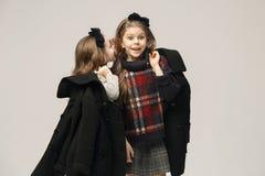 El retrato de la moda de muchachas adolescentes hermosas jovenes en el estudio Imagen de archivo libre de regalías