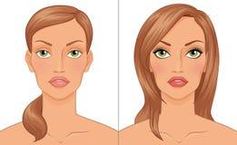El retrato de la mujer antes y después del maquillaje Ilustración del vector