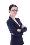 El retrato de la mujer de negocios hermosa joven en vidrios aisló o Fotografía de archivo