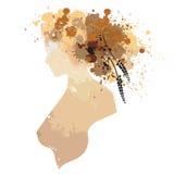 El retrato de la mujer en perfil con las manchas Fotografía de archivo