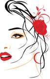 El retrato de la mujer hermosa con rojo se levantó en pelo libre illustration