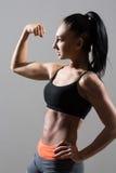 El retrato de la mujer joven de la aptitud muestra el bíceps imagen de archivo