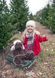 El retrato de la niña feliz que se sienta con el peluche refiere el trineo fotografía de archivo