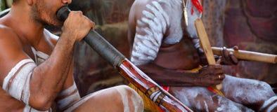 El retrato de los hombres aborígenes de Yirrganydji juega música aborigen imagen de archivo