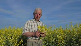 El retrato de un granjero mayor se coloca en un campo floreciente de flores amarillas almacen de video