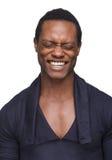 Hombre del afroamericano con los ojos cerrados Fotos de archivo