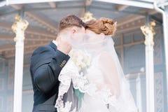 El retrato de un par precioso de recienes casados, ocultando detrás de un velo, se coloca de abarcamiento contra la perspectiva d Fotografía de archivo libre de regalías