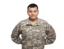 Soldado sonriente en el resto de desfile Imagenes de archivo