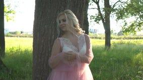 El retrato de una muchacha hermosa en un vestido rosado se inclinó en árbol grande con maquillaje en la puesta del sol en verano metrajes