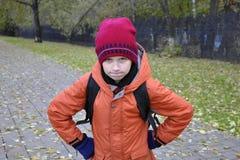 El retrato del adolescente en parque del otoño Imagen de archivo