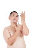 El retrato del hombre asiático desnudo rechoncho presenta como como hermoso Imágenes de archivo libres de regalías