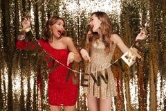 El retrato del las muchachas felices alegres se vistió en vestidos brillantes Fotos de archivo