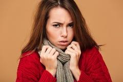 El retrato del primer de la mujer de congelación del trastorno en rojo hizo punto el suéter Imagen de archivo libre de regalías