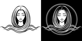 El retrato estilizado de la muchacha hermosa joven con el pelo largo El dibujo aislado linear Fotos de archivo libres de regalías