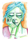 El retrato femenino con ella los ojos se cerró y barbilla en su mano libre illustration