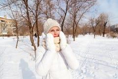 El retrato la muchacha en un invierno abajo-rellenó la capa Imagen de archivo