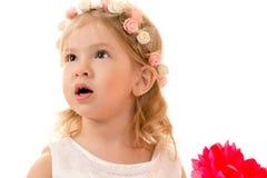 El retrato sorprendió a la muchacha encantadora con el borde en la cabeza Fotografía de archivo libre de regalías