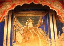El rey de la pintura del sarabhoji que se llama pintura del tanjore en el pasillo dharbar del pasillo del ministerio del palacio  Imagen de archivo libre de regalías