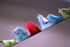 El rezo budista señala el vuelo por medio de una bandera con el viento Fotos de archivo