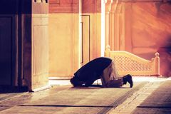 El rezo musulmán para dios en la mezquita Imagen de archivo libre de regalías