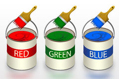 El RGB colorea conceptos de las cajas de la pintura Fotos de archivo libres de regalías