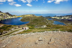 El riñón, el gemelo, el trébol, los pescados y los lagos más bajos, los siete lagos Rila, montaña de Rila Fotos de archivo libres de regalías