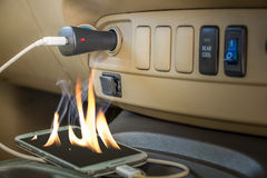 El riesgo de incendios olvida los teléfonos de las cartas Imagen de archivo libre de regalías