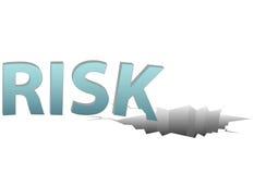 El RIESGO sin seguro baja en agujero financiero peligroso ilustración del vector