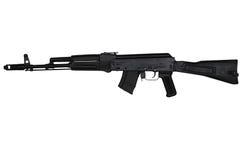 El rifle de asalto con la acción del extremo amplió la opinión de lado izquierdo aislada en blanco Imagenes de archivo