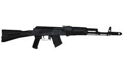 El rifle de asalto con la acción del extremo amplió la opinión del lado derecho aislada en blanco Imagen de archivo