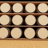 El roble del vino barrels en tienda en la representación 3D stock de ilustración