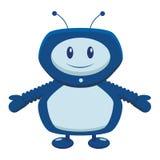 El robot azul en un plano en un fondo blanco ilustración del vector