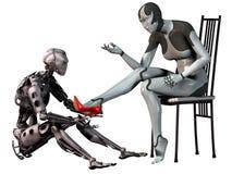 El robot Cenicienta, hombre androide intenta un zapato rojo del tacón alto en el pie de una mujer androide, ejemplo 3d ilustración del vector