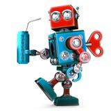 El robot con la bebida de la energía puede Concepto de la tecnología ilustración 3D Foto de archivo libre de regalías