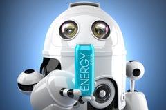 El robot con la bebida de la energía puede ilustración 3D Contiene la trayectoria de recortes de la poder y de la escena entera Imagenes de archivo