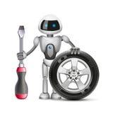 El robot con una rueda de coche y un destornillador, vector ilustración del vector