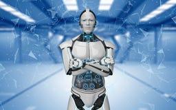 El robot cruzó redes futuristas del sitio de las manos libre illustration