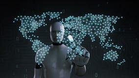 El robot, cyborg que toca el icono inalámbrico de la comunicación, hace el mapa del mundo global, Internet de cosas Tecnolog?a fi stock de ilustración
