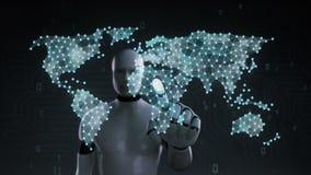 El robot, cyborg que toca el icono social de la gente, hace el mapa del mundo global, Internet de cosas Tecnolog?a financiera 1 ilustración del vector