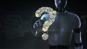 El robot, cyborg tocó la pantalla, engranajes de oro de acero que hacían forma del signo de interrogación inteligencia de la visi