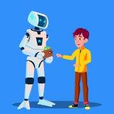 El robot da el dinero al vector del niño Ilustración aislada
