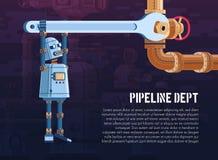 El robot da vuelta a la válvula en la tubería con una llave stock de ilustración