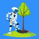 El robot de Eco planta un vector verde del árbol Ilustración aislada