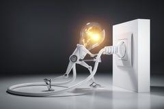 El robot de la bombilla de la historieta ata un enchufe eléctrico a la pared ilustración del vector