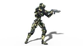El robot del ejército, cyborg de las fuerzas armadas de arma, arma androide militar del tiroteo del soldado en el fondo blanco, v libre illustration